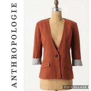 Cartonnier Anthropolige Orange Sans Collar Blazer